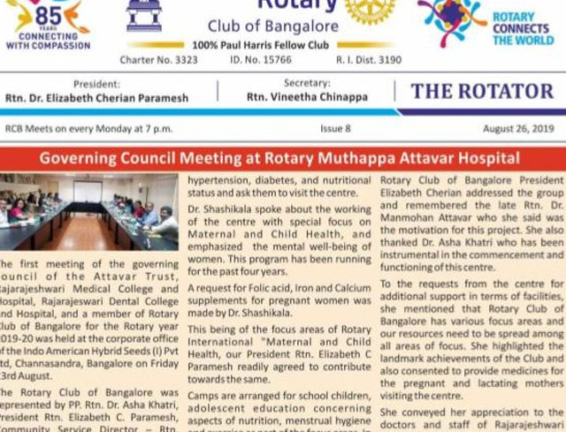 Rotators 2019-20 Issue 8     26th August 2019