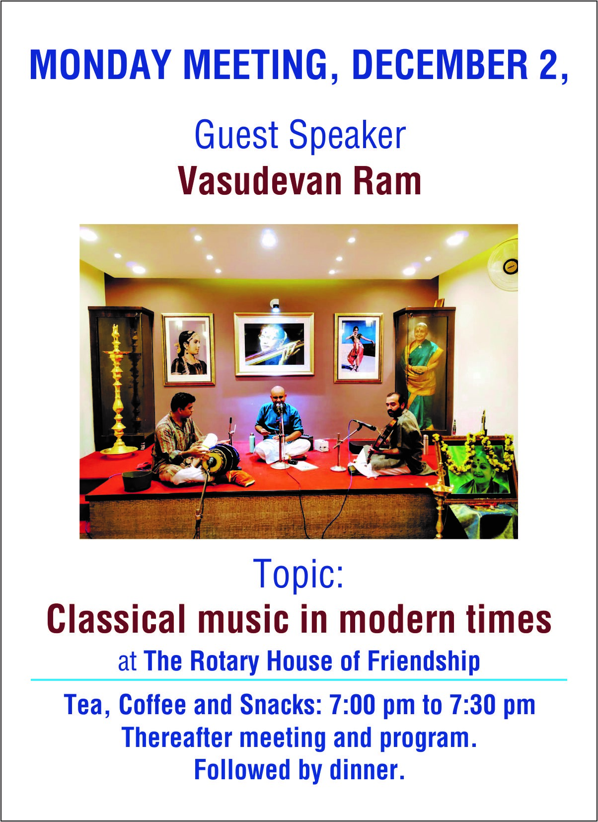 Speaker Event – Classical Music in Modern Times 2nd December 2019