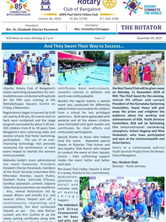 Rotators 2019-20 Issue 17  4th November 2019