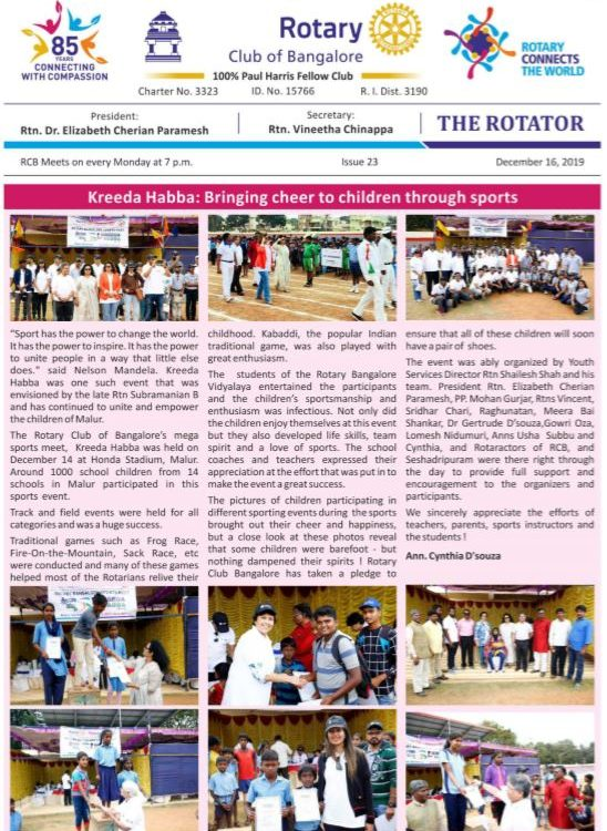 Rotators 2019-20 Issue 23  16th December 2019